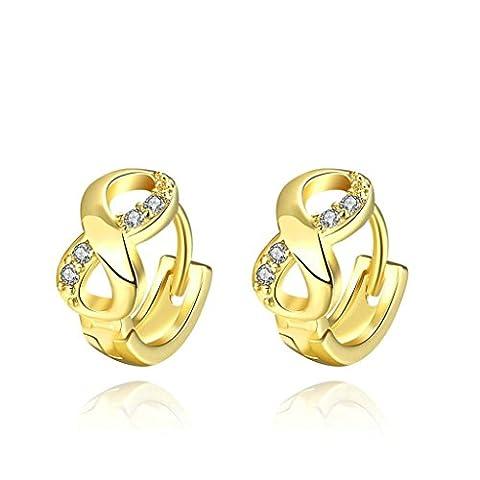 Adisaer Hoop Earrings for Women Gold Plated Cubic Zirconia Infinity Earrings Round Earrings Hoop Gold