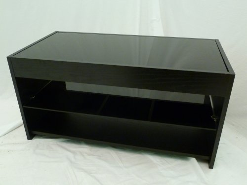 Black Wood & Glass TV Stand