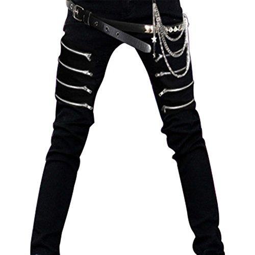 lancoszp Steampunk Jeans Casuales para Hombres Pantalones Ajustados con Cinturon y Cadenas, 30