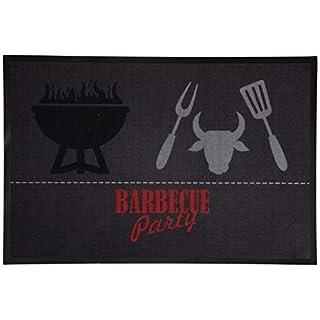 AiO-S - OK Grillmatte BBQ Fußmatte Grillteppich Schmutzfangmatte Barbecue Party grau