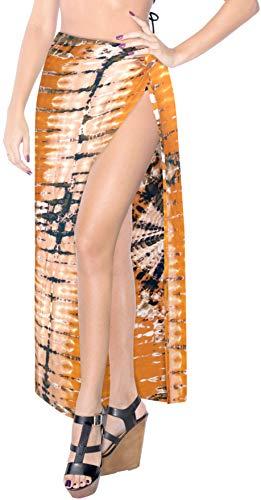 LA LEELA Frauen Schwimmen Bikini Strand Pareo Wrap Sarong Vertuschung Orange_X911 78