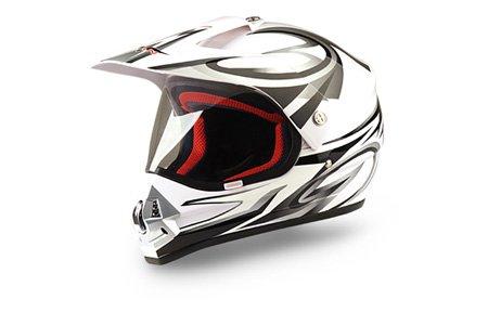 WinNet casco per moto da cross o motard con visiera bianco