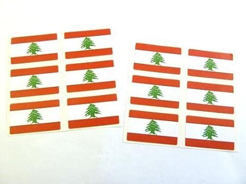 Mini Autocollant Paquet, 33x20mm Rectangle, Autocollantes Liban Etiquettes, Libanais Drapeau Stickers