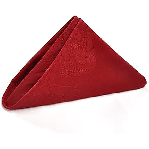 Cotone jacquard Bocca panno Albergo Bocca Panno nozze panno bocca tovagliolo di stoffa di cotone Bocca Fold Fiori 51 * 51 centimetri ( colore : Rosso )