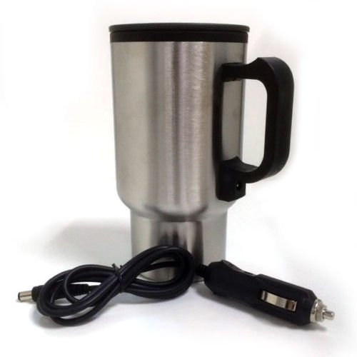 AND Retails Stainless Steel 12V Portable Heated Travel Mug – Plugs into Car Cigarette Lighter + USB Port