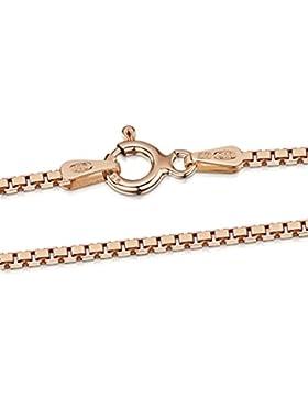 Amberta 925 Sterlingsilber Roségold 14K Halskette - Venezianierkette - 1.5 mm Breite - Verschiedene Längen: 40...