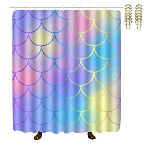 Duschvorhang,Shower Curtains for Bathroom Magic Mermaid Fish Scales 60x70 Inch Durable Waterproof Bath Curtain Sets Shower Curtain Liner Decor for Home Hotel Spa Bathtubs -
