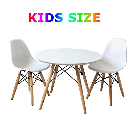 Buschman Kindermöbel | Tisch & Stuhl Set für Kinder | 2 Stühle aus Kunststoff ohne Armlehne und 1 runder MDF Tisch | Modernes Design, geschwungene Sitze, Holzbeine, Basis aus Stahl, Farbe Weiß - Moderne Stahl-tisch