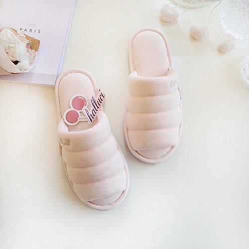 Fortuning's JDS Unisex adulti coppia accogliente cotone Casa calzature comode pantofole Flatform di aperto Sandali dita dei Rosa