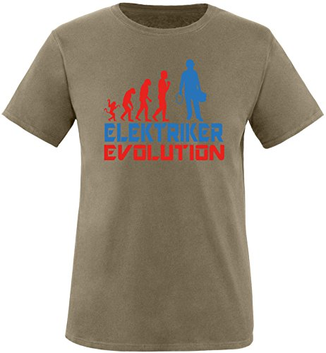 EZYshirt® Elektriker Evolution Herren Rundhals T-Shirt Olive/Rot/Blau