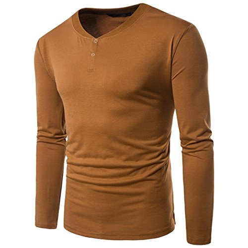 Männer Hemden VENMO Mens Casual Langarmshirt Geschäft Top Slim Fit Shirt Feste Bluse (M, Yellow) (Plain-kragen-shirt)