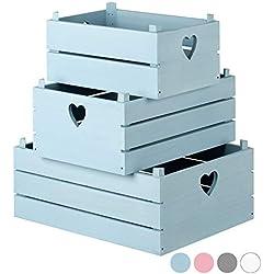 Hartleys Set di 3 Cassette Shabby Chic - Vari Colori
