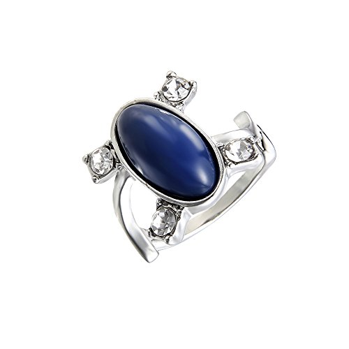 lureme® Women Herren The Vampire Diaries Elena Sapphire Kristall Daylight Ring Silber Ring-U (04001477-5)