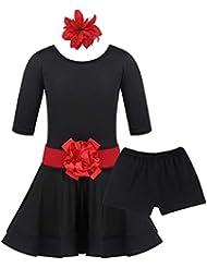 611dc32bc inlzdz Fille Short de Danse Latine Robe de Danse Classique Fille Costumes  de Danse Rumba Chacha