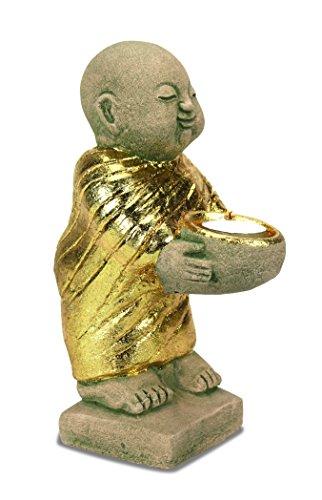 Gold-Sandstein Mšnch Teelichthalter - 2 Grš§en erhŠltlich (Large - 25cm hoch) - Votivo Asiatischen Kerze