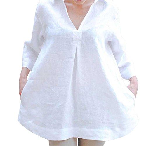 Lambswool Schal Kragen (SEWORLD 2018 Damen Mode Sommer Herbst Schal Solide Blusen Beiläufige Lose V-Ausschnitt Tops Handgelenk Ärmel Shirts(Weiß,EU-42/CN-L))