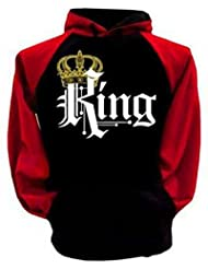 Los Amantes de la Ropa Oto?o Mangas Largas Impresas Suéter con Capucha,Mangas rojas (KING masculino),XL
