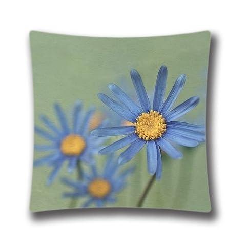 Zipper Design Blue Daisies Throw Pillowcase, 18x18 inches Pillow Sham (Twin sides) AnasaC29314