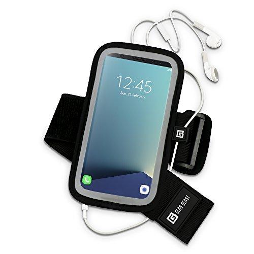 Gear Beast Sportarmband für Samsung Galaxy S8. Handy Halterung für Running Joggen Workout Fitness und Sport. Wasserdicht Reflektierende Band mit Kartenfach (Nano Training-band Für Ipod Den)