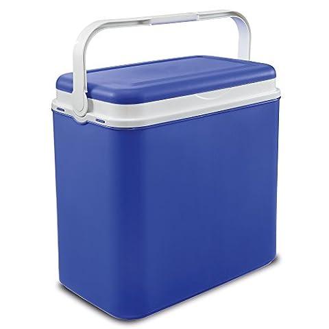 Glacière bleue grand format pour pique-nique, déjeuner, plage et camping (32 l) + 3briques réfrigérantes, Cooler Box + 3 Ice Packs