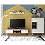 Lomadox Wohnzimmer Wohnwand weiß matt mit Eiche Riviera Nb. im Vintage Stil