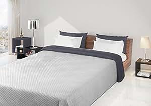 170x210 silber grau Tagesdecke Bettüberwurf Steppbettüberwurf Steppung zweiseitig silver grey Filip