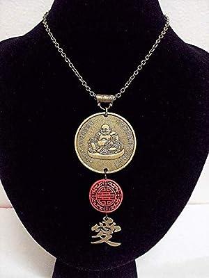 Collier grand Bouddha heureux bronze, cinabre rouge et symbole Amour