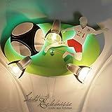 Kinderleuchte/grün, rot, weiß, chrom / 3-flammig / E14 / Lampe Fußball Motiv/Kinderzimmer Leuchte Spot/Fußball Sportler/Kinderlampe bunt/Leuchte Jungen/Soccer
