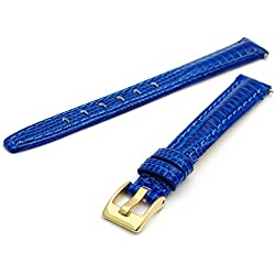 Coloured Padded Lizard Grain Leather Watch Strap Blue 12mm With a Gilt (Gold Colour) Buckle
