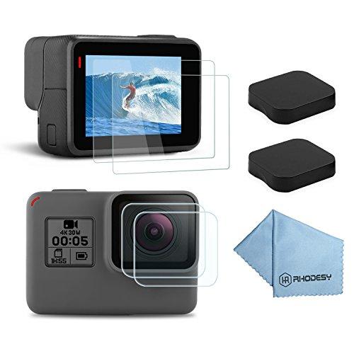 Rhodesy Protecteur D'écran pour GoPro Hero 7(Seulement Noir) Hero(2018) 6/5, Verres Trempés Ultra-clairs Protecteur Écran LCD + Lens Protecteur Trempé + Capuchon de Lentille [2PCS]