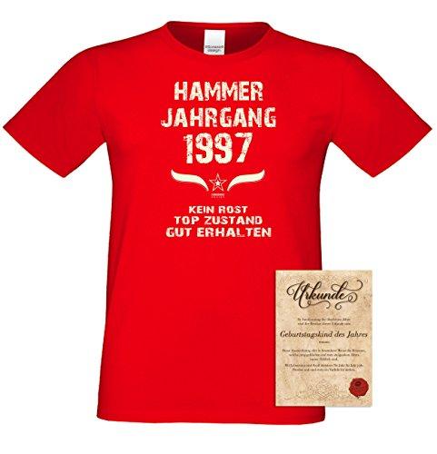 Geschenk Set : Geschenkidee 20. Geburtstag ::: Hammer Jahrgang 1997 ::: Herren T-Shirt & Urkunde Geburtstagskind des Jahres ::: Farbe: schwarz Rot