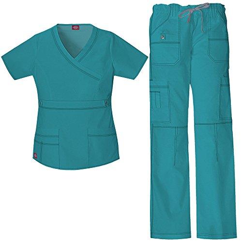 Scrub Top Hose (Gen Flex Frauen Mock Wrap Scrub Top & Straight Leg Scrub Hose Set X-Small Teal)