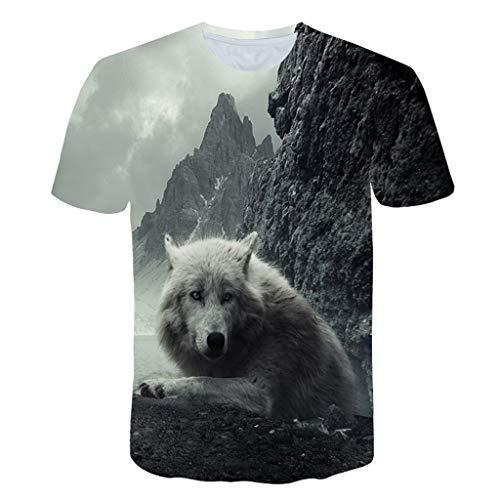 Wawer, modisch, Herren, kreativ, 3D, Wolf, bedruckt, lässiges T-Shirt, Kurzarm, Oround Hals, elegantes T-Shirt, Club, Slim, große Größe XL - Kreative Kostüm Leicht