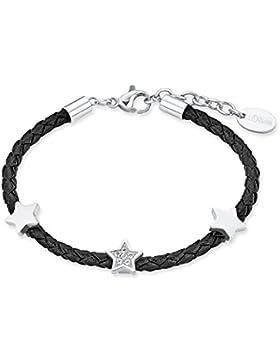 s.Oliver Kinder-Armband Stern Edelstahl mattiert Leder Glas weiß 16 cm - 2018515