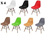 4 Chairs - Eiffel DSW Retro Design Wood Style Chair for Office Lounge Dining Kitchen