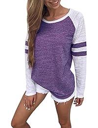 FNKDOR Women Fashion Shirt Stitching Pattern Blouse Long Sleeve Tops