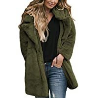 Aleumdr Womens Autumn Cozy Warm Solid Oversized Faux Fur Longline Fuzzy Loose Coat Open Front Fluffy Outerwear Jacket Green Large