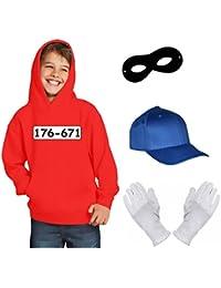 Kinder Set GANGSTER BANDE KOSTÜM - FASCHING - KARNEVAL - Sweatshirt mit Kapuze, MÜTZE, MASKE + HANDSCHUHE - Gr: 116 128 140 152 164