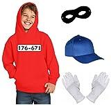 Kinder Set GANGSTER BANDE KOSTÜM - FASCHING - KARNEVAL - Sweatshirt mit Kapuze, MÜTZE, MASKE + HANDSCHUHE - rot Gr.140