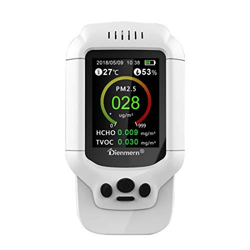 CCDYLQ Handheld Air Quality Monitor Formaldehyd (HCHO) TVOC Luftqualitätsindex (AQI) Feuchtigkeits-Temperaturdetektor für Indoor-Outdoor Akkurate Echtzeit mit Alarm -