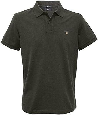 Gant Sólidos Piqué Camisa De Polo De Los Hombres, Melange Oscuro Antracita