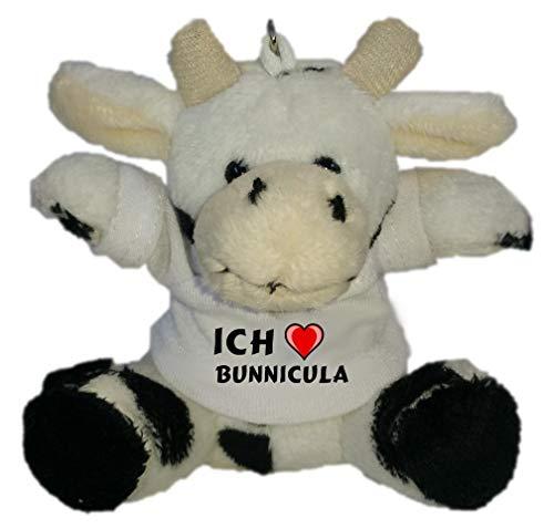 SHOPZEUS Plüsch Kuh Schlüsselhalter mit T-Shirt mit Aufschrift Ich Liebe Bunnicula (Vorname/Zuname/Spitzname)