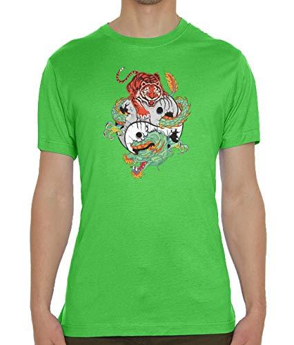 Yin Yang Grün T-shirt (Tiger and Dragon Yin and Yang Balance Graphic Green Men's Crew Neck T-Shirt L)