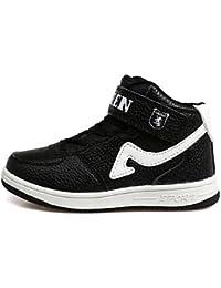 aemember Boy primavera otoño zapatos de Athletic comodidad sintética al aire libre Casual soporte de talón cordones Magic cinta negro azul rojo blanco, US2 / EU33 / UK1 Little Kids, Black/White