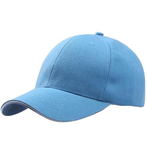 UFACE Einfarbige Baseballkappe Frauen Baseball Cap Snapback Hut Hip-Hop einstellbar (Himmelblau-2)