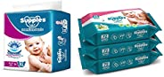 Supples Baby Pants Diapers, X-Large, 54 Count with Wet Wipes (Pack of 3)