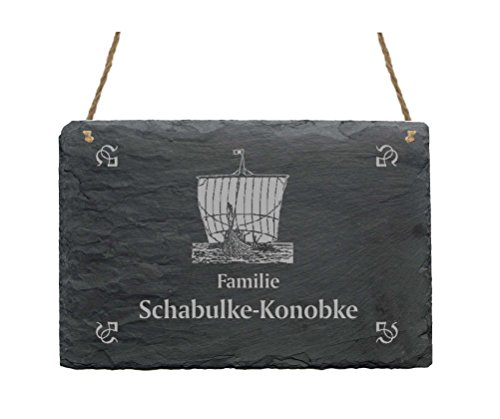 Schiefertafel « Familie -IHR NAME- » mit WIKINGERSCHIFF Motiv - 22 x 16 cm - Türschild aus Schiefer