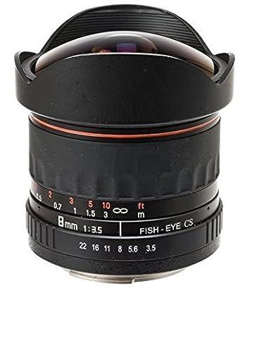 Fish-Eye 8 mm 1:3,5 DSLR Objectif pour Nikon D3000, D3100, D3200, D3300, D3400, D5000, D5100, D5200, D5300, D5500, D7000, D7100, D7200, D40, D40x, D50, D60, D70, D70s, D80, D90, D100, D200, D300 D500 Appareil photo numérique Reflex (monture d'objectif Nikon