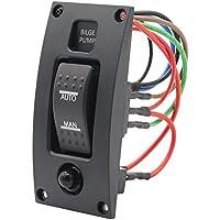 DishyKooker 12-24 V Interruptor de Bomba de achique Alarma Impermeable Barco Deck Panel de Control de Limpieza para Barco Bilge Bombas Encendido/Apagado/Encendido