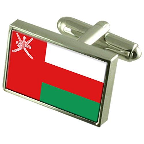 Oman Sterling Silver Flag de manchette en boîte personnalisée gravée